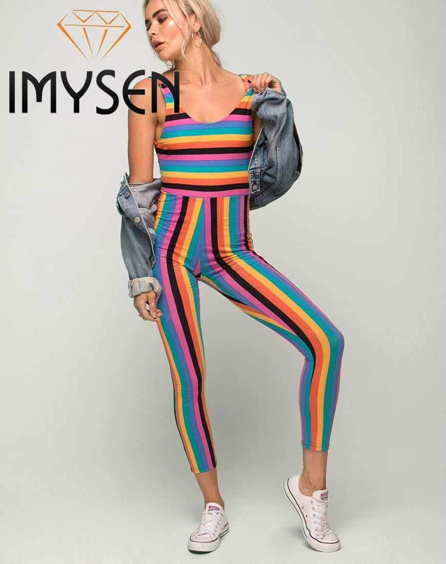 dde9326d484 IMYSEN 2017 New Fashion Sexy Backless Rainbow Striped Jumpsuits Women  Rompers Skinny Ninth Length Women Summer Autumn Clothes  Affiliate