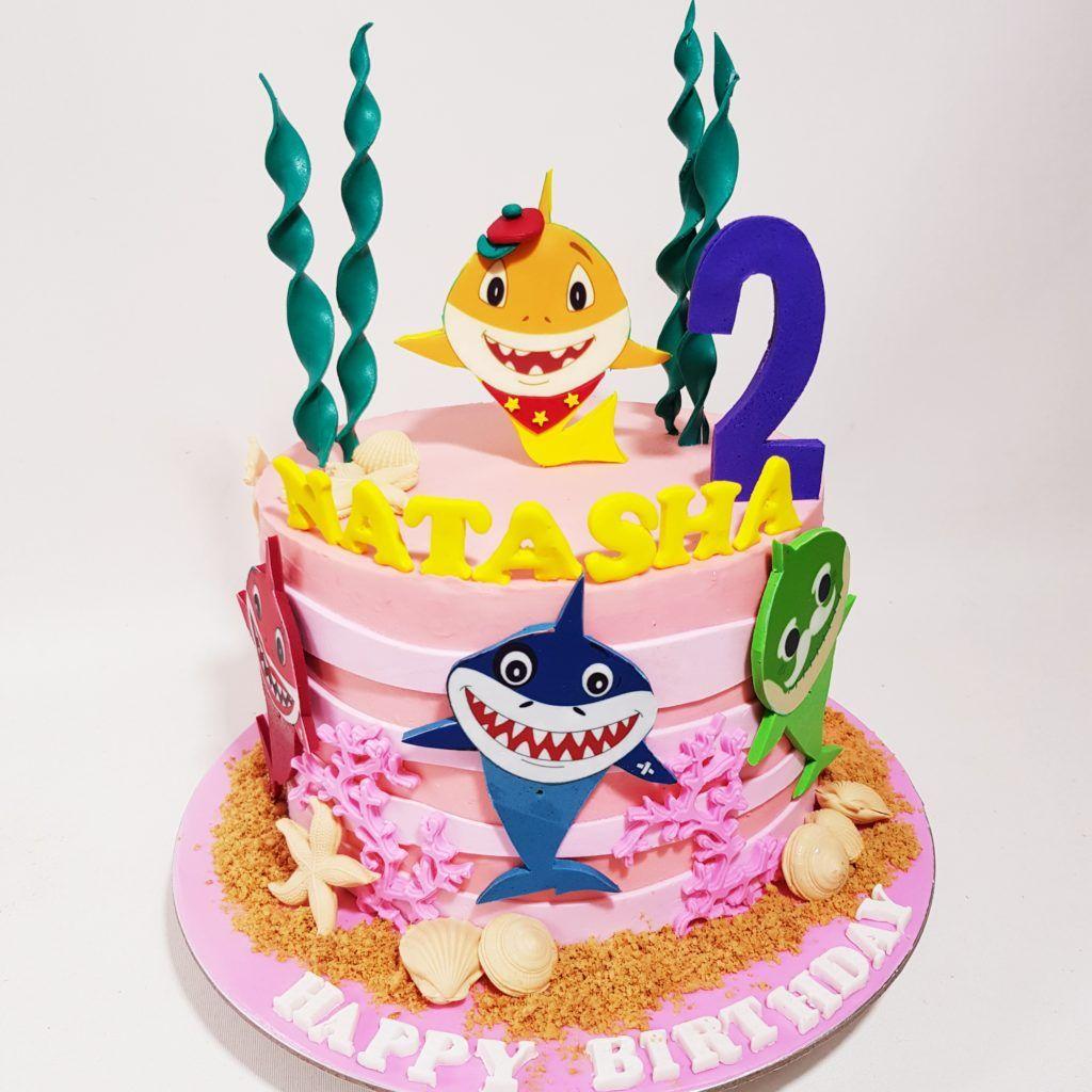 Baby Shark Cake With Images Shark Birthday Cakes Baby Shark