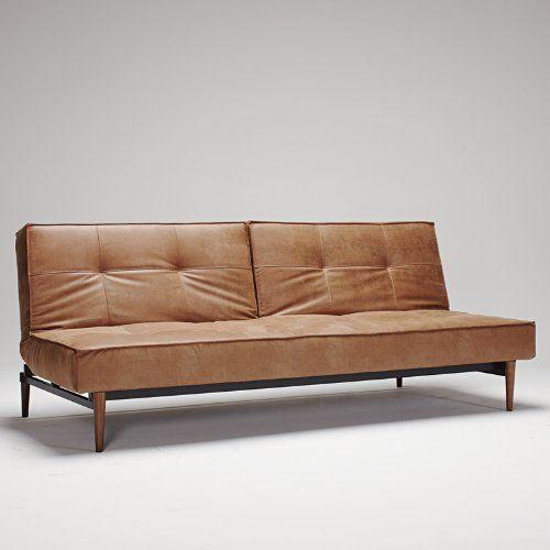 Innovation Schlafsofa Splitback Wood Textil Dunkelbraun Heim