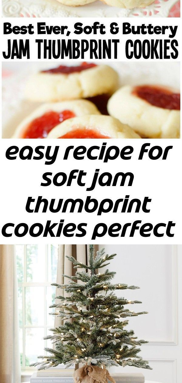 Easy recipe for soft jam thumbprint cookies perfect for the holidays! buttery cookies with great f 1 #jamthumbprintcookies Easy recipe for Soft Jam Thumbprint Cookies perfect for the holidays! Buttery cookies with great flavor, filled with your favorite sweet jam. Perfect for Christmas cookie exchanges!  #cookies #recipe #baking #dessert #thumbprints #cookie #jam #Christmas from BUTTER WITH A SIDE OF BREAD This lush faux Frazier Fir Tabletop Tree by designer Suzanne Kasler looks freshly cut aft #jamthumbprintcookies