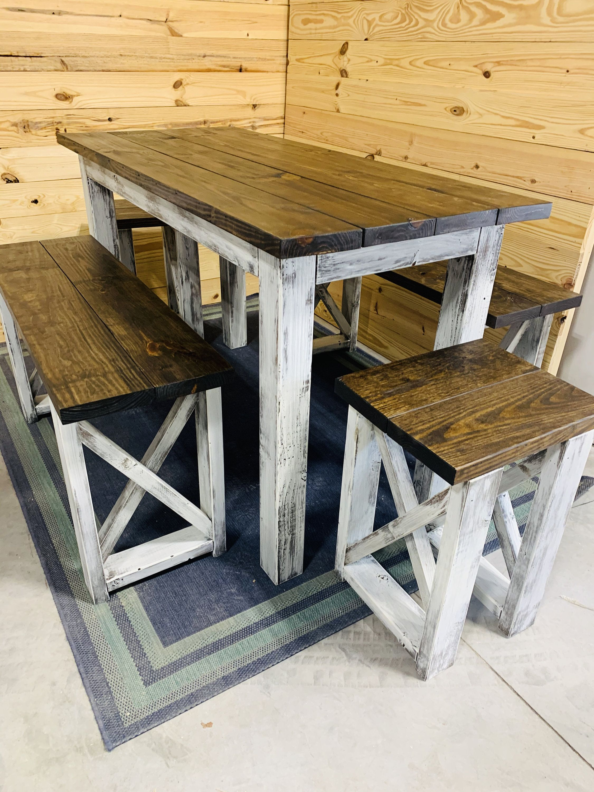 Tall Pub Height Farmhouse Table With Benches Dark Walnut Top And White Distressed Base Counter Height Dining Set With Stools Farmhouse Table With Bench Farmhouse Kitchen Tables Diy Dining Room Table