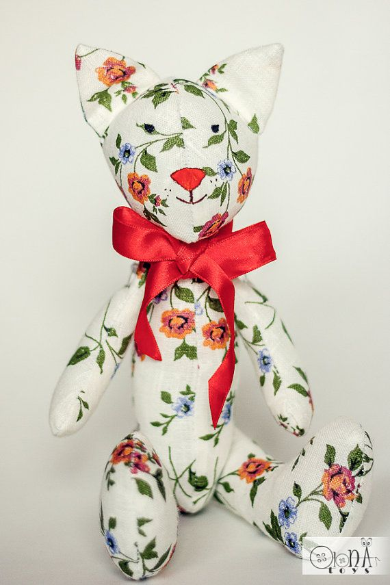 Stuffed cat animal tilda doll natural linen floral by OlonaToys