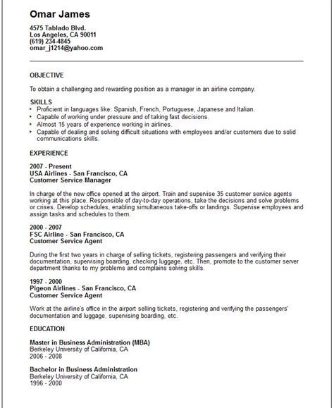 Airline Customer Service Agent Sample Resume Airline Customer Service Agent Cover Letter  Latest Resume Format .