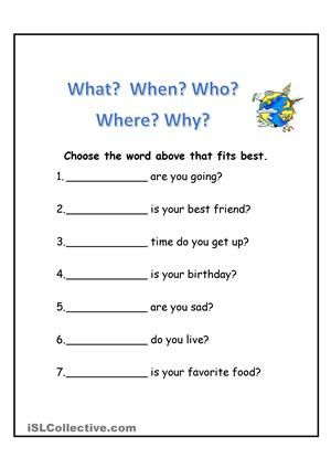 WH Questions | Wh questions, Phonics worksheets, Basic ...
