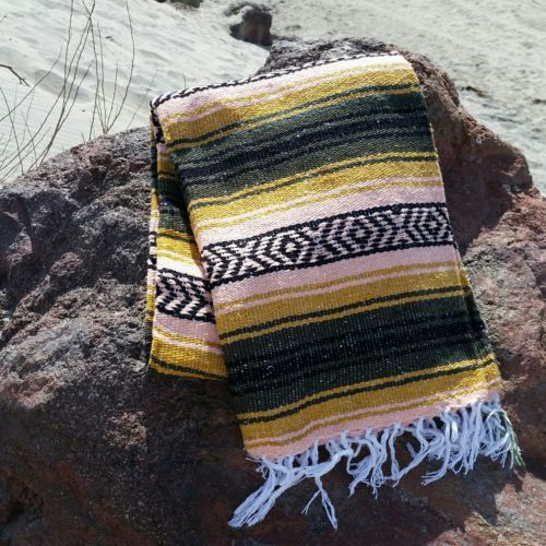 Premium-Quality-Mexican-Blanket-Southwest-Throw-Large-OLIVE-GOLD-PINK-BLACK