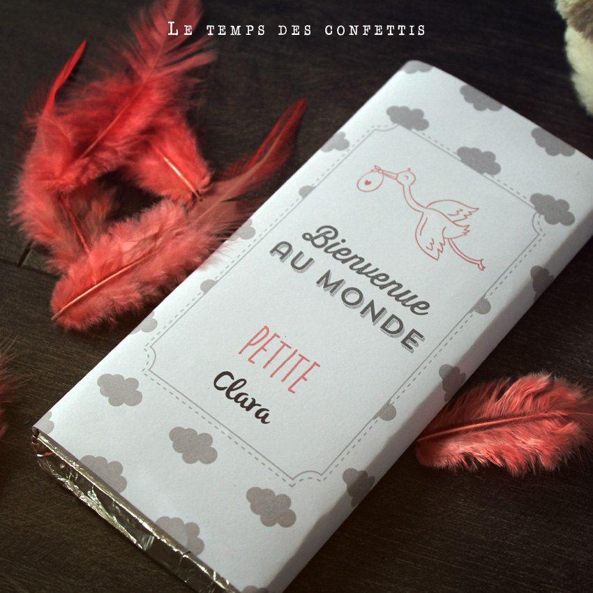 Tablette De Chocolat Personnalisee A Offrir Pour Une Naissance