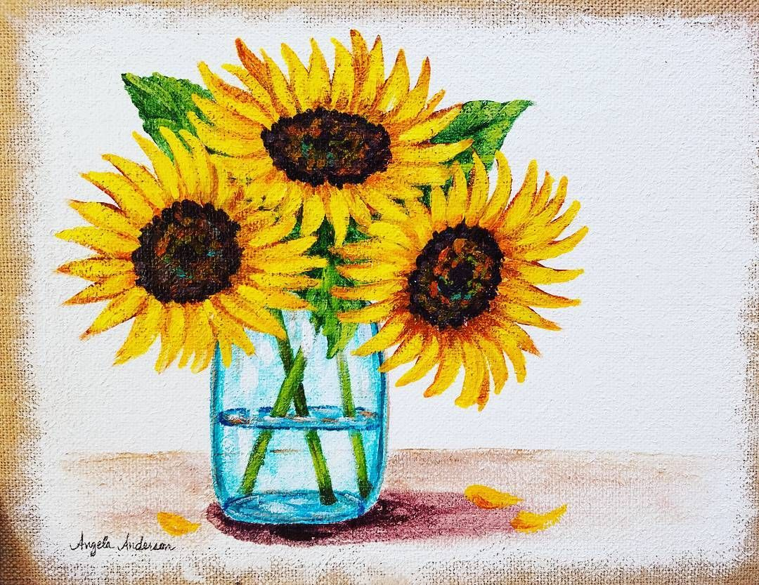 Yesterday\'s free tutorial on Youtube #sunflower #acrylicpainting ...