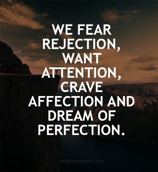 If you know what a meta model violation is, you are looking at a HUGE one. Who is the 'we' I know I for one don't dream of perfection or fear rejection. I also know my wife doesn't care for attention. This is an awful quote that doesn't even mean anything #terriblequotes #quotes
