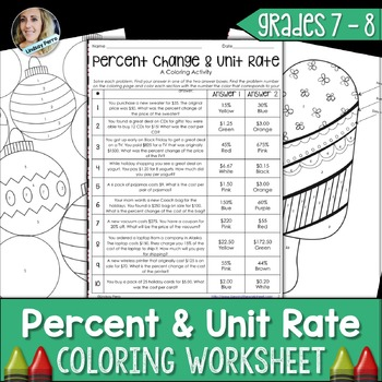 This Activity Has Student Practice Finding Percent Of A Number Percent Change And Unit Rate Unit Rate Middle School Math Resources Math Practice Worksheets Worksheets on unit rates