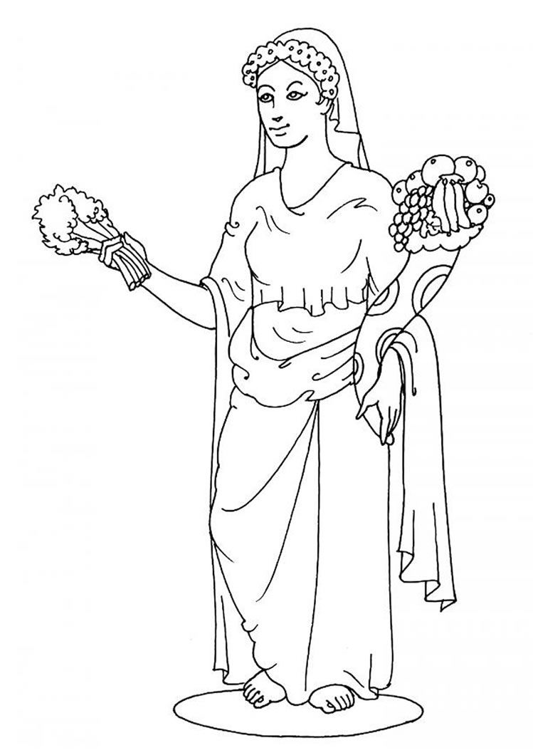 Greek Goddesses Coloring Pages Goddess Demeter Sailor Moon