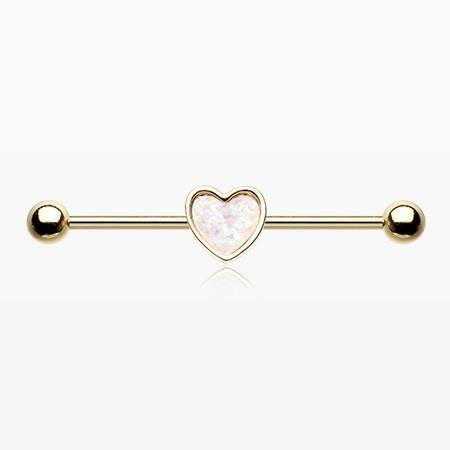 Golden Opal Sparkle Heart Industrial Barbell En 2020 Piercings