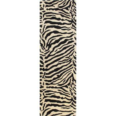"World Menagerie Sarana Hand-Tufted Black Area Rug Rug Size: Runner 2'6"" x 8'"