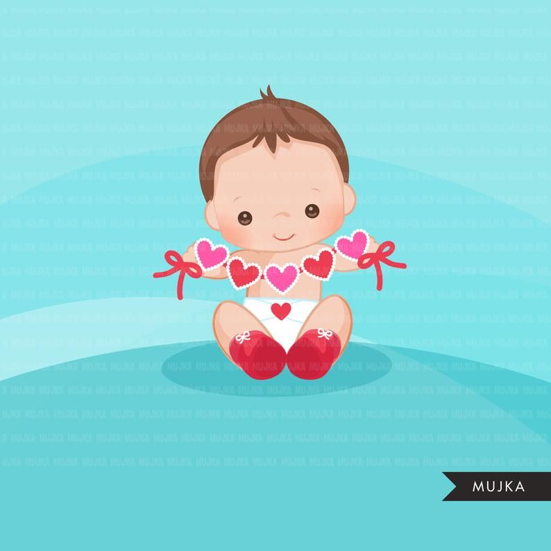 Valentine S Day Baby Clipart Cute Baby Boys With Heart Etsy In 2021 Embroidery Designs Baby Clip Art Valentines Day Baby