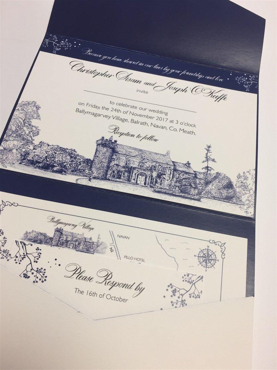 custom pocketfold appleberry press Illustrated wedding