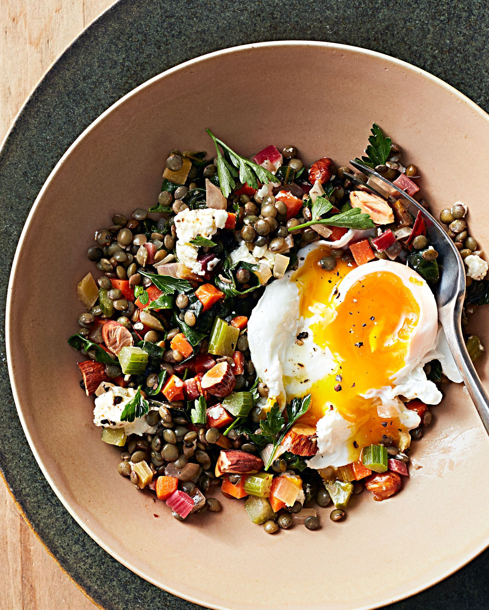 Warm Lentil Salad With Poached Eggs Recipe Recipe Lentil Salad Lentil Recipes Poached Egg Recipe