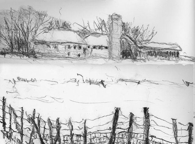 Winter Farm-Wrong-Handed Pencil Drawing by nkimadams, via Flickr