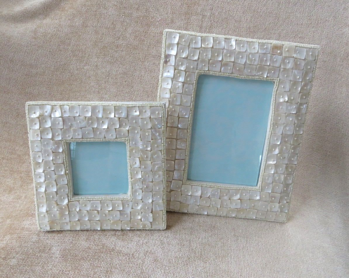 Mother of Pearl Picture Frames, Pair of MOP Photo Frames, Coastal ...