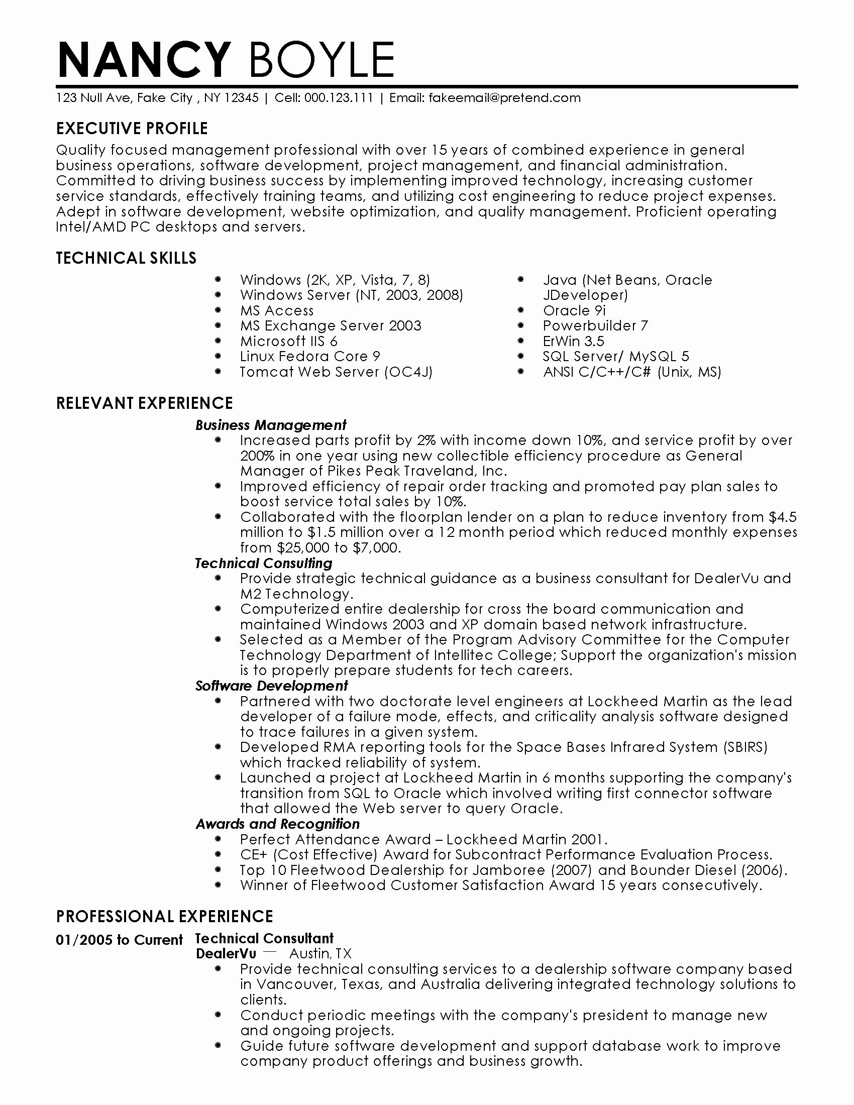 Business administration resume examples fresh professional