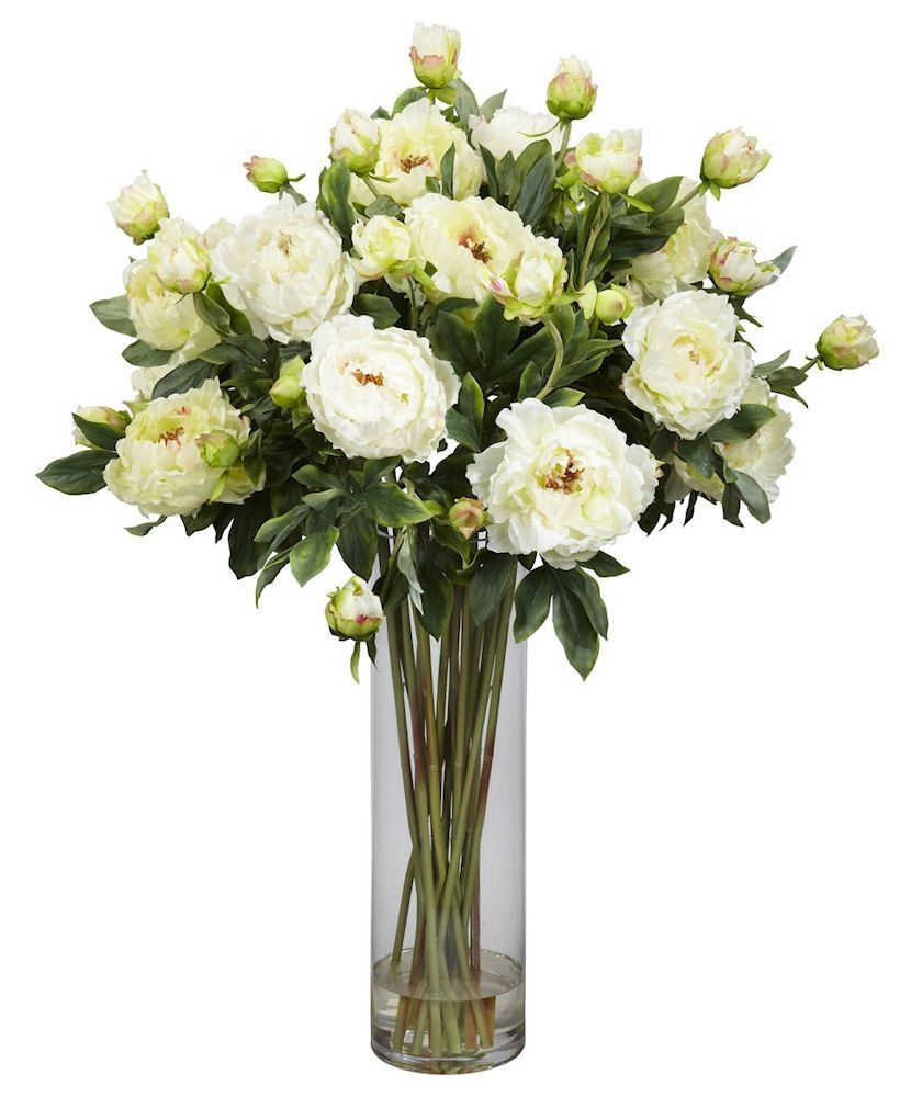 Giant Peony Silk Flowers In Water Vase In 3 Colors 38 Inches