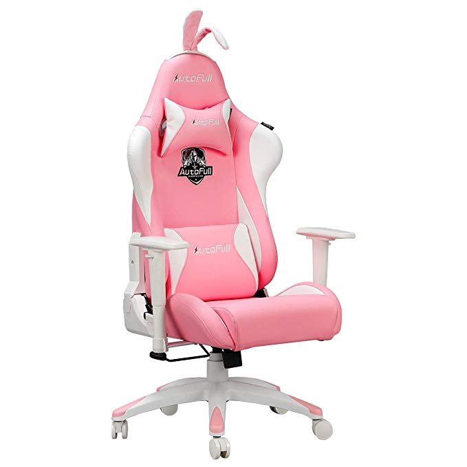 AutoFull Pink Gaming Chair PU Leather High