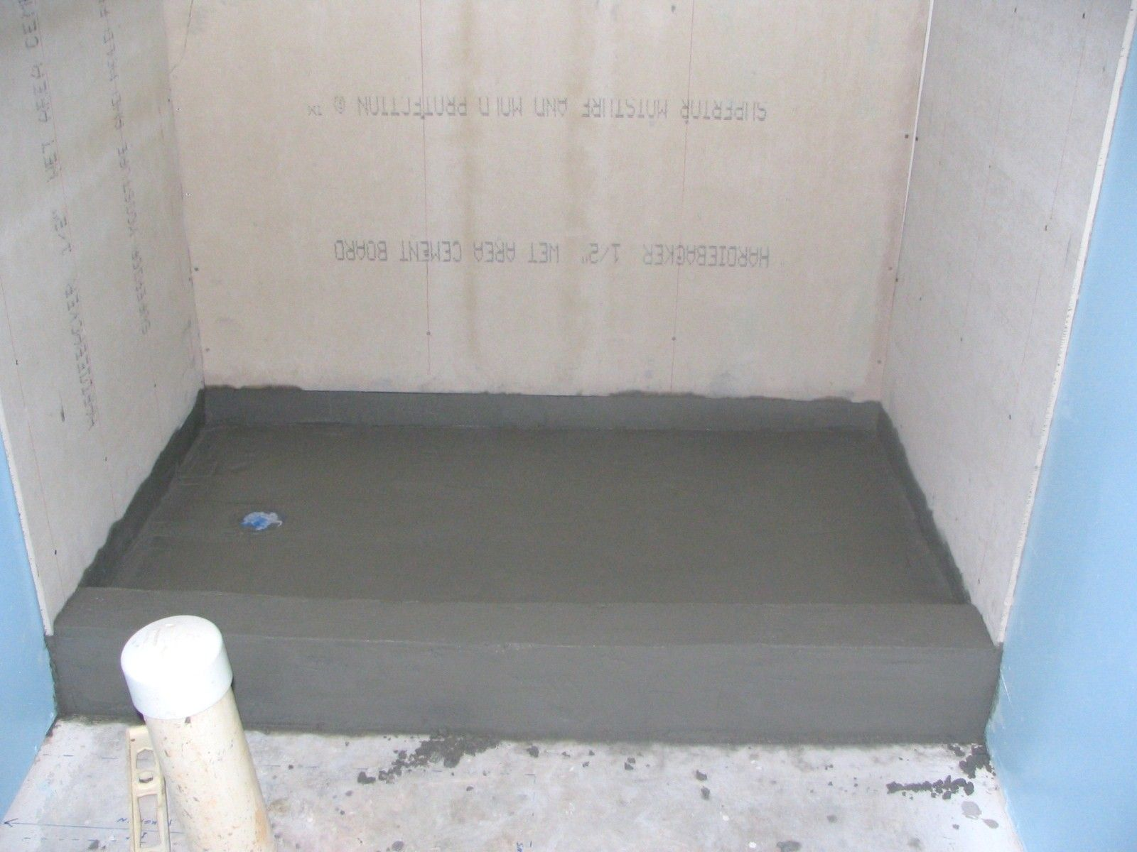 Basement Bathroom: Shower Pan Mortar Bed And Cement Backer Board On Walls