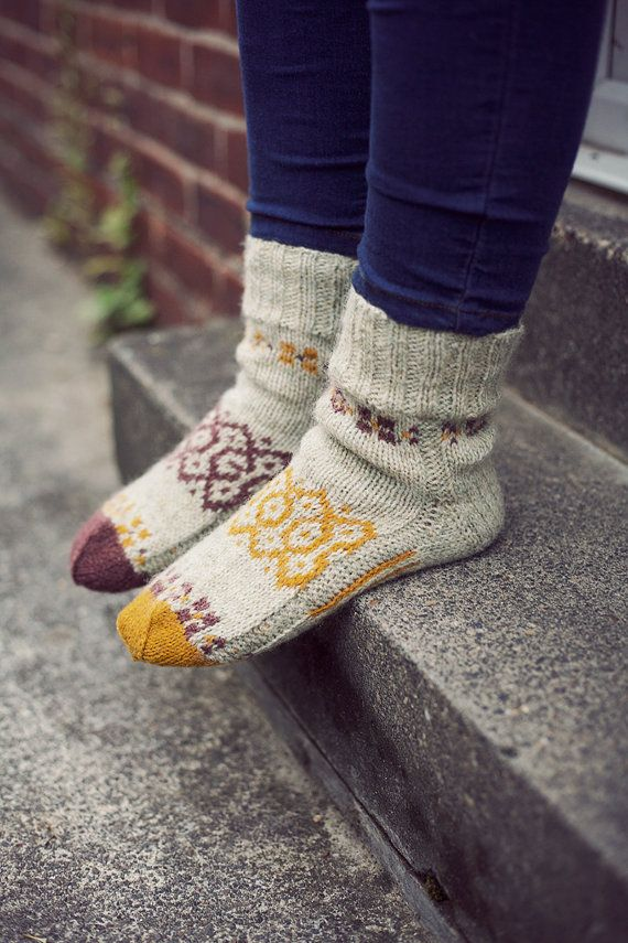 007129a340364 Stocking up on stockings :) Autumn mosaic Natural colours hand knit wool  socks. by RGideas, $38.00