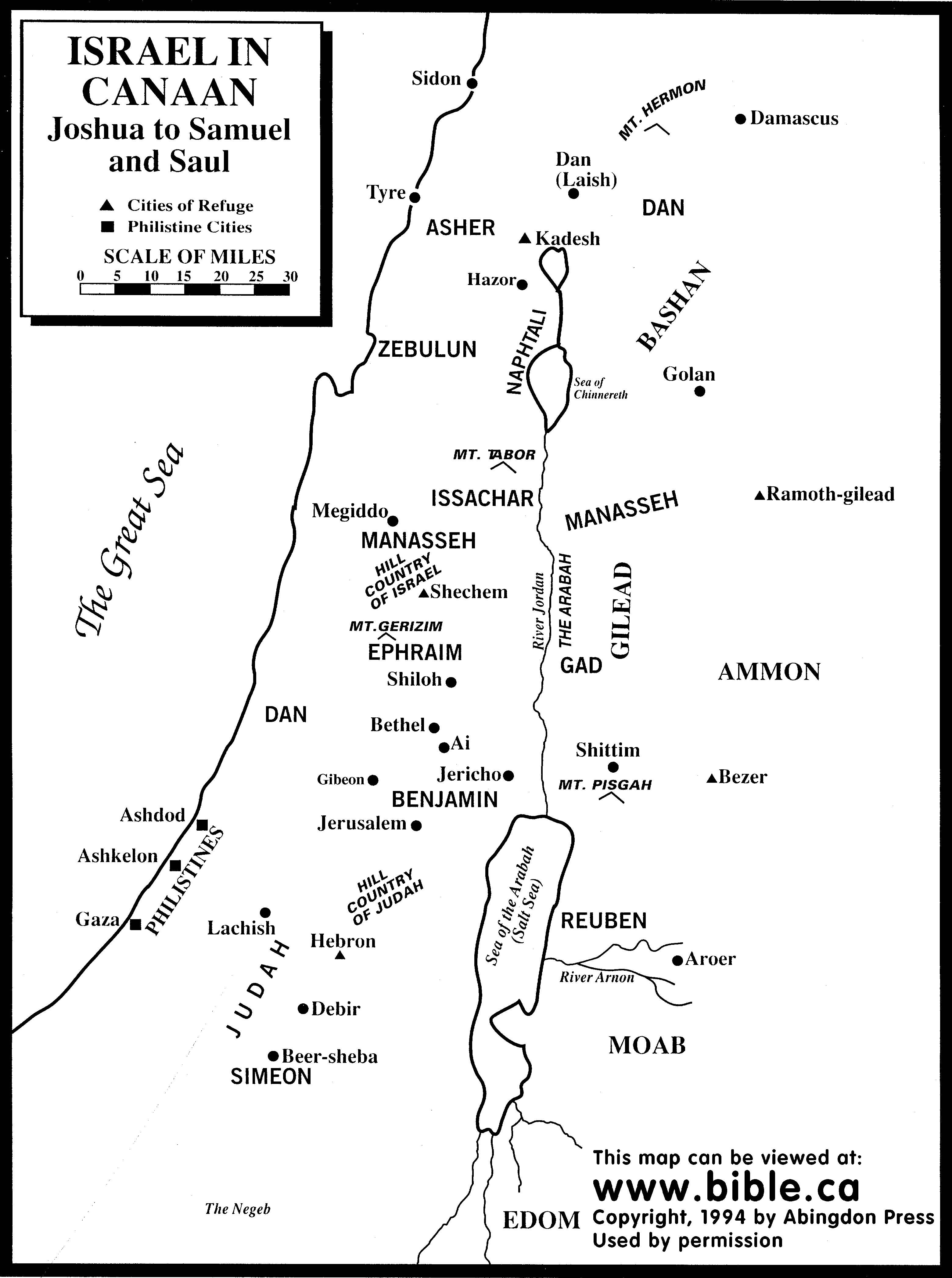 Bible Maps Twelve Tribes In Canaan From Joshua To Saul