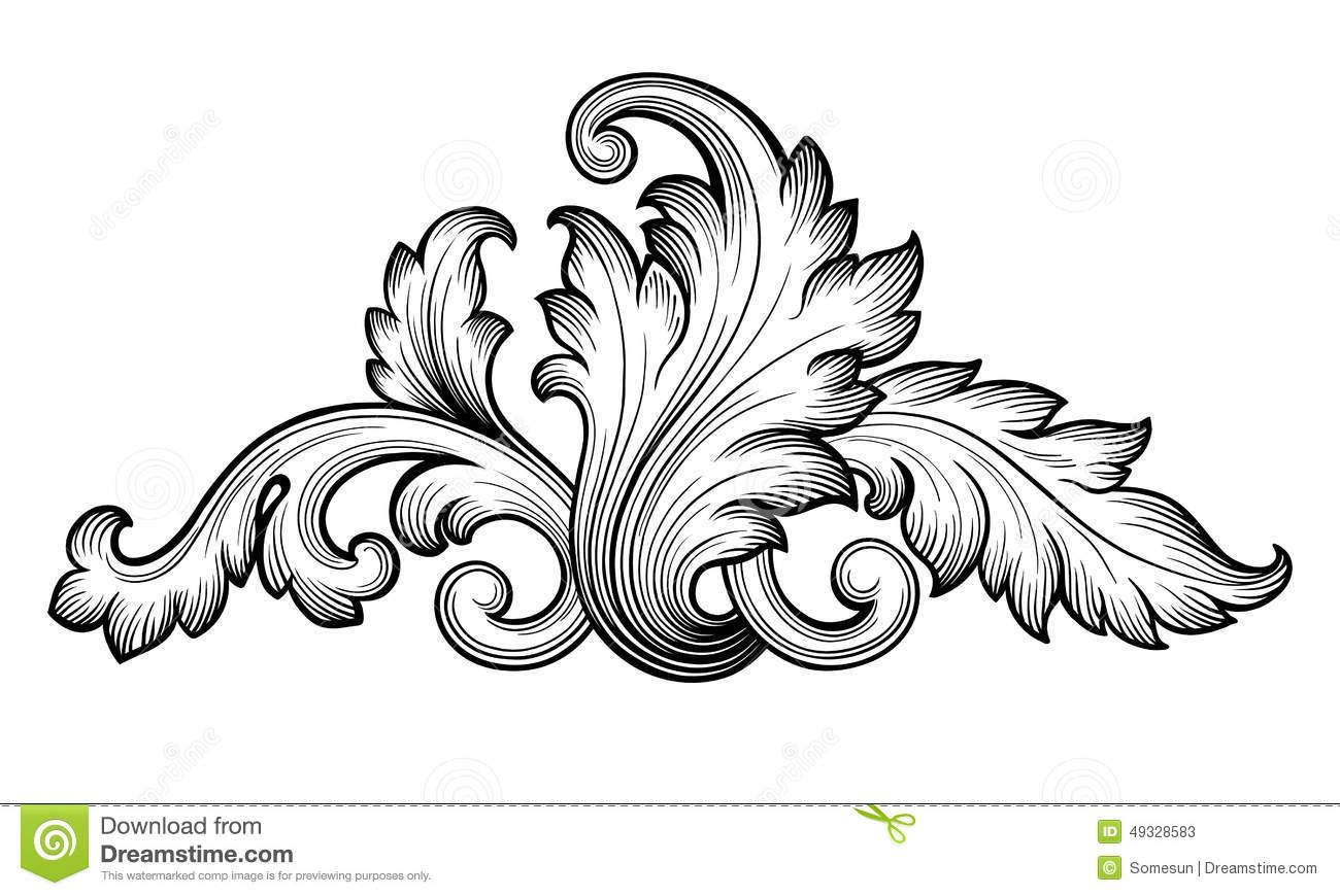 Vintage baroque floral scroll set ornament vector stock