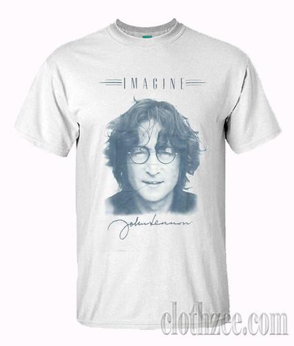 John Lennon Signature Portrait T Shirt T Shirt Shirts Cool T Shirts