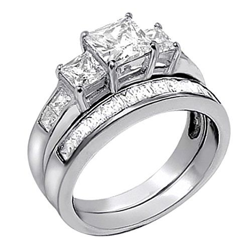 Sterling Silver Three Stone CZ Princess Cut Womens Wedding