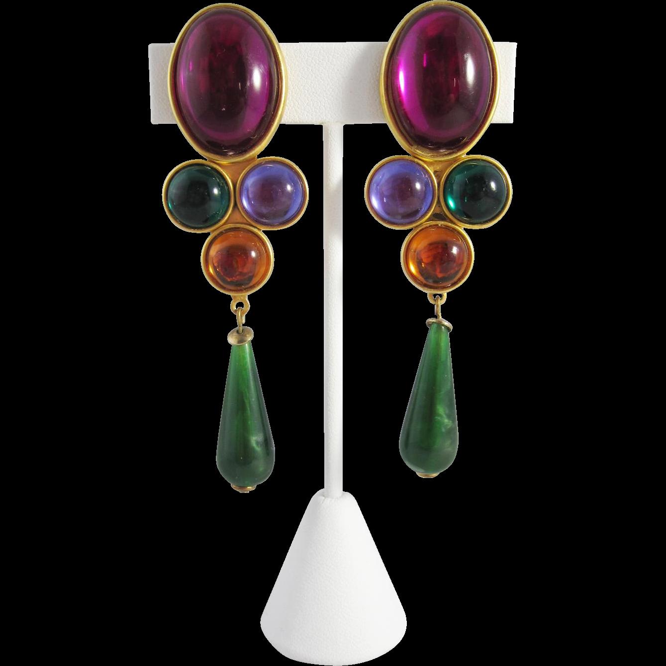 Vintage jeweled chandelier earrings vintage jewelry pinterest vintage jeweled chandelier earrings arubaitofo Images