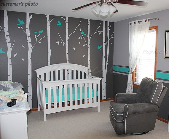 Tree Wall Decals Nursery Wall Decals Office Wall Murals   Six Big Birch  Trees With Flying
