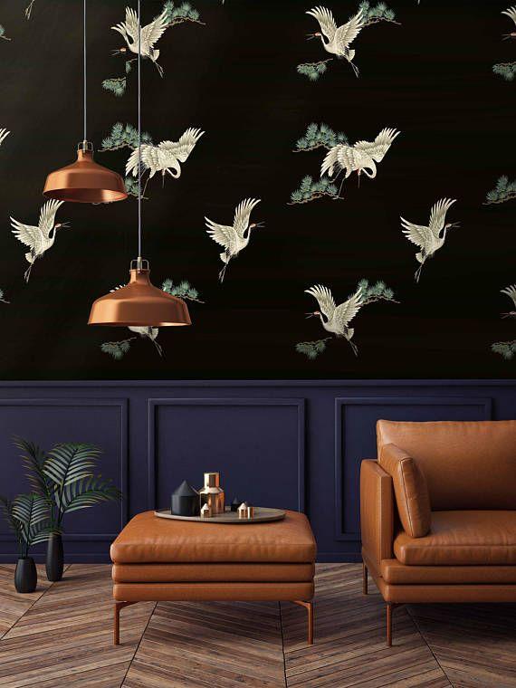 Heron Wallpaper, Chinoiserie Wall art, Chinoiserie, Herons