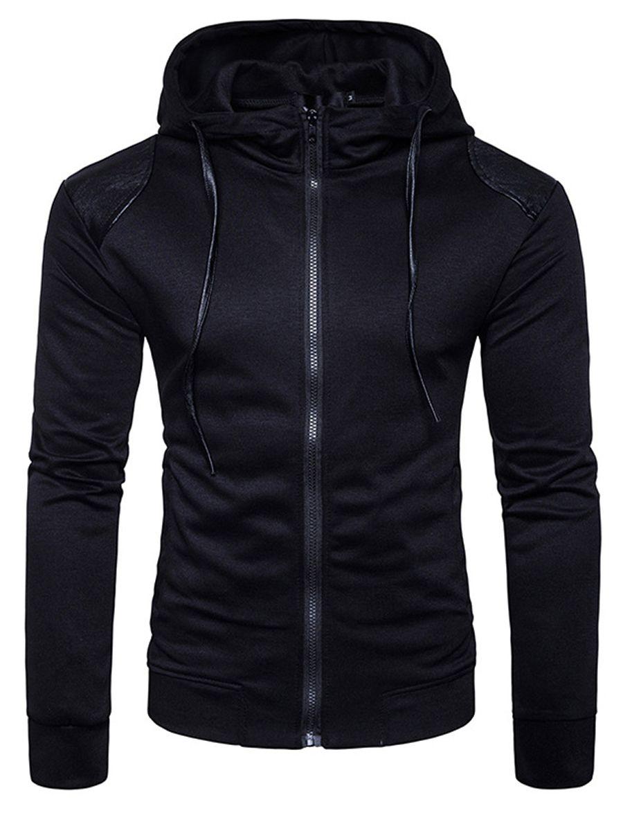XQS Mens Winter Zipper Hoodie Down Jackets Outwear