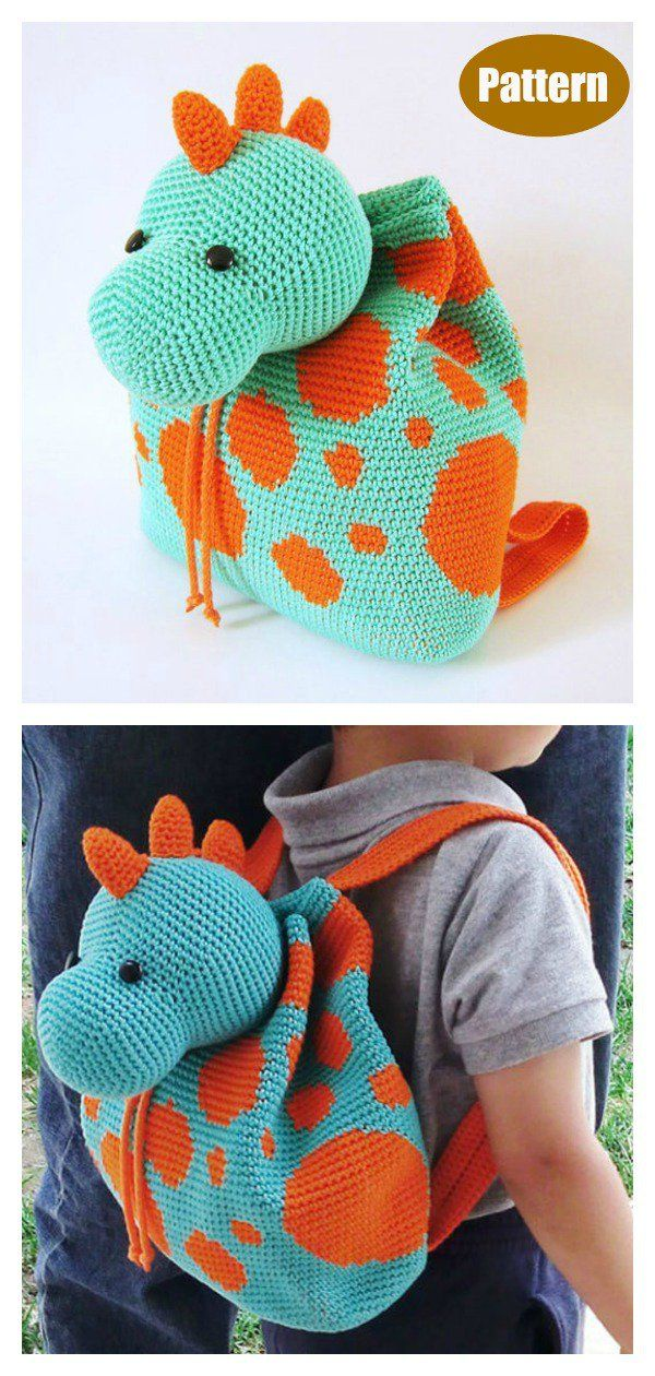 Dino Kids Backpack Crochet Pattern #crochetdinosaurpatterns