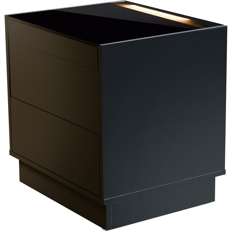 Best Galaxy Melamine Led Bedside Table Black Black Bedroom 400 x 300