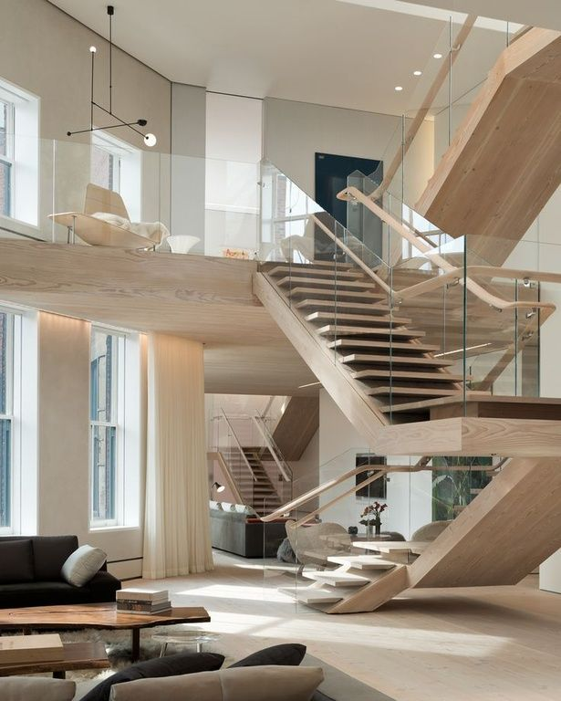 Contemporary staircase with floating staircase glass for Open concept loft