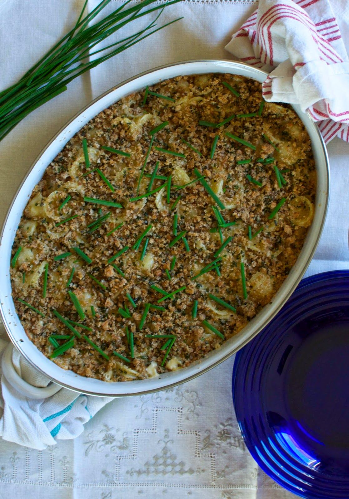 ¡Hola! Jalapeño: Green Chile Mac + Cheese with Chive Breadcrumbs