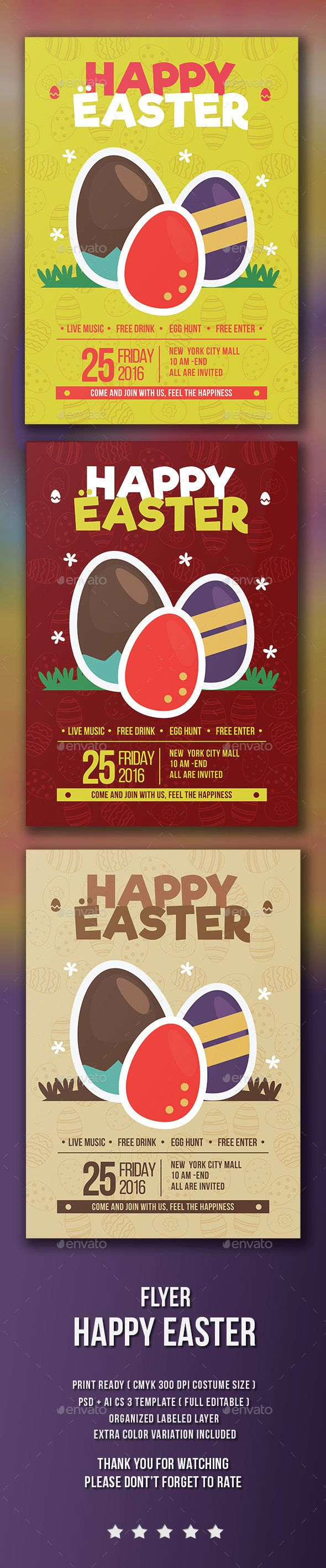 Happy Easter Flyer Template PSD Download here http