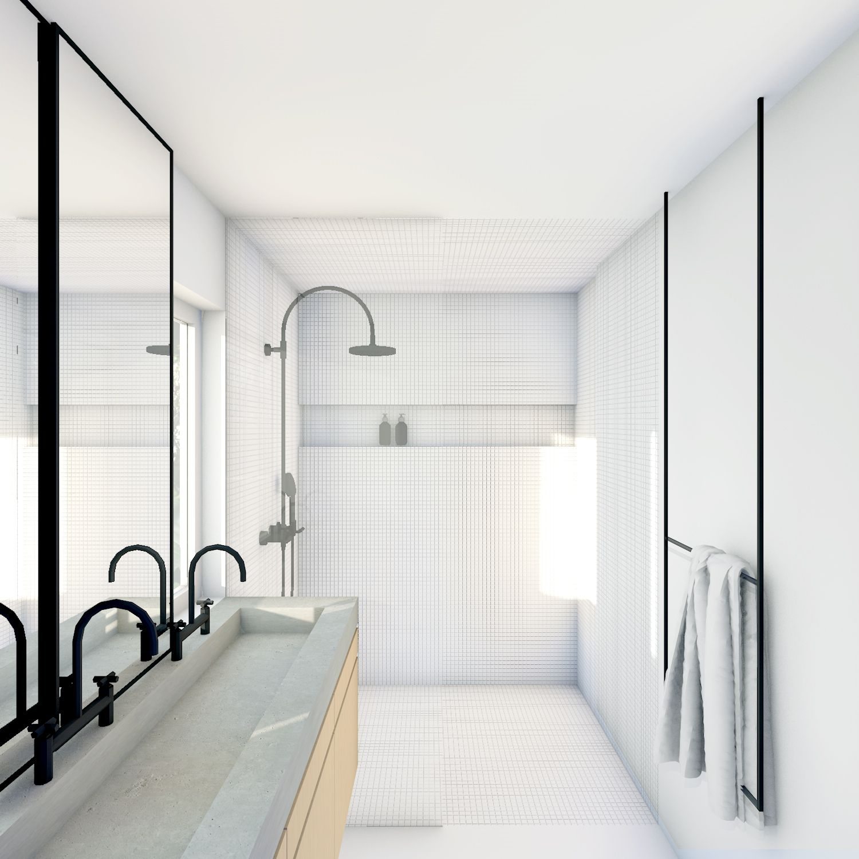 wit gestucte badkamer met witte moseik op de vloer wand en