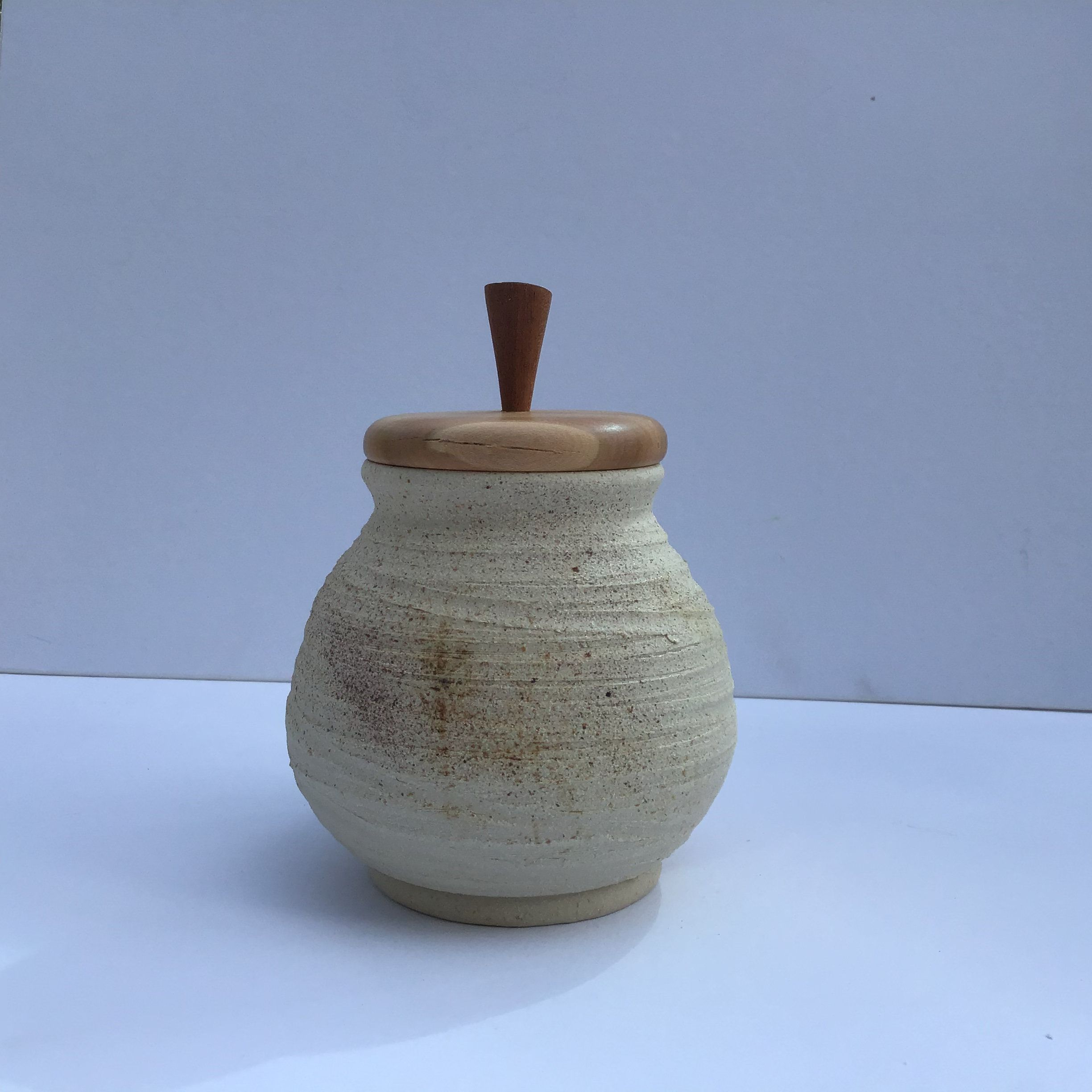 Items Similar To Ceramic Hand Thrown Pot With Turned Wood Lid Storage Jar Decorative Pot Wooden Pot Jar Buff Container Handcrafted Pot On Etsy Decorative Pots Jar Storage Pottery Jar