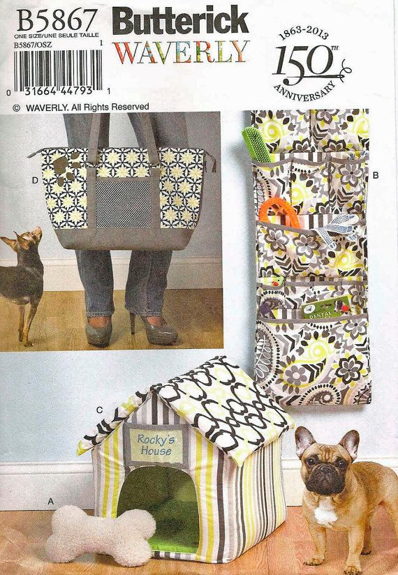 BUTTERICK 5867 SEWING PATTERN PET DOG ORGANIZER HOUSE MAT CARRY BAG NEW UNCUT