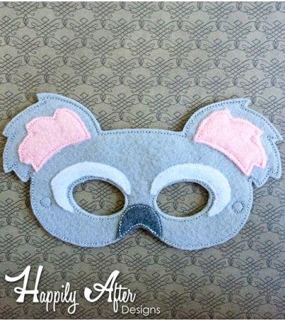 Felt Mask Embroidery Design Koala Bear ITH