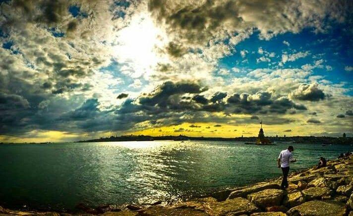 Güneş Batarken ♥ İlahi ışıklar ♥ Kız Kulesi / Boğaziçi, İstanbul ♥♥♥  Solar Sunset, Divine lights ♥  Maiden Tower / Bosphorus, İstanbul, Turkey