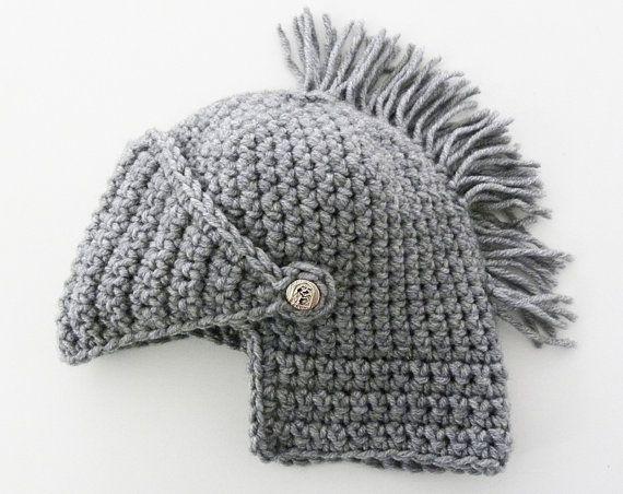 mens winter boyfriend gift Mens Knight Helmet Hat Crochet Slouch ...