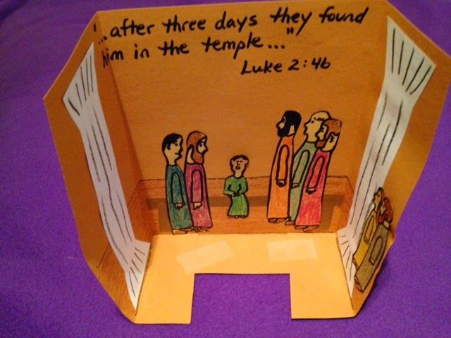 Luke 2. Jesus in the temple. You will never believe where Joseph and Mary find Jesus after searching for Him in the huge city of Jerusalem for three days! Easy, inexpensive, and unique children's Bible lessons. Free to all! Take a look and share!