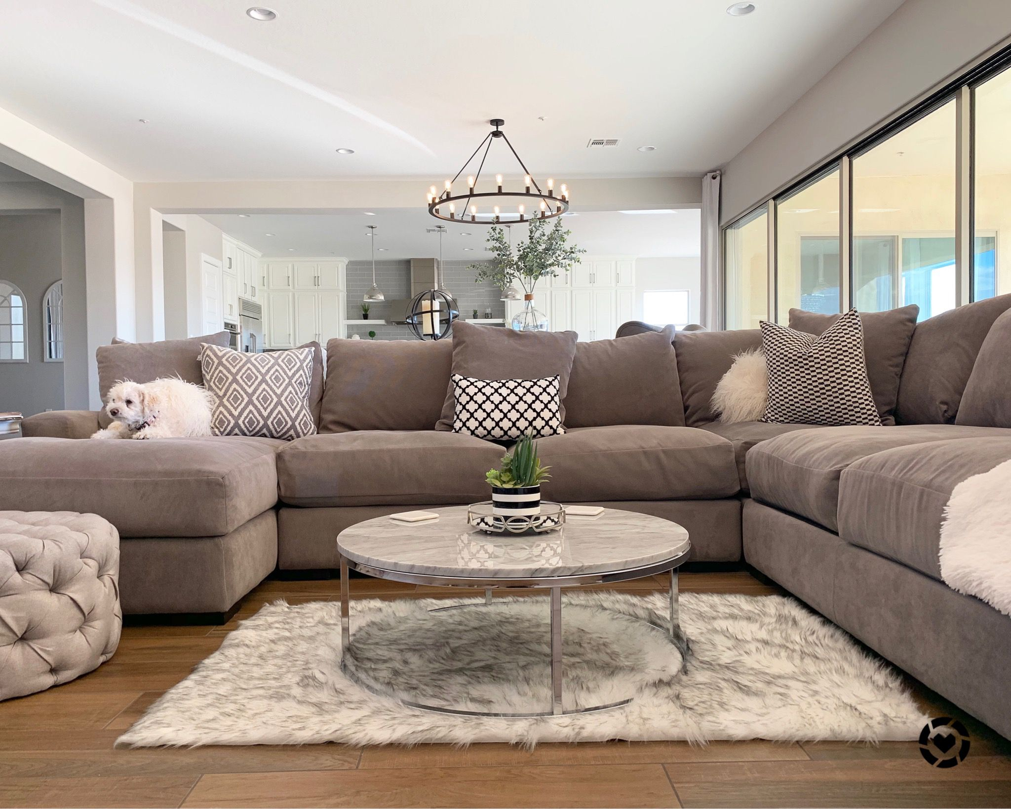 Our Sectional Is The Best Color Gray Fabric Is Soft Yet Durable And So Comfy I Found A Marble Living Room Remodel Neutral Bedrooms Stripe Wallpaper Bedroom