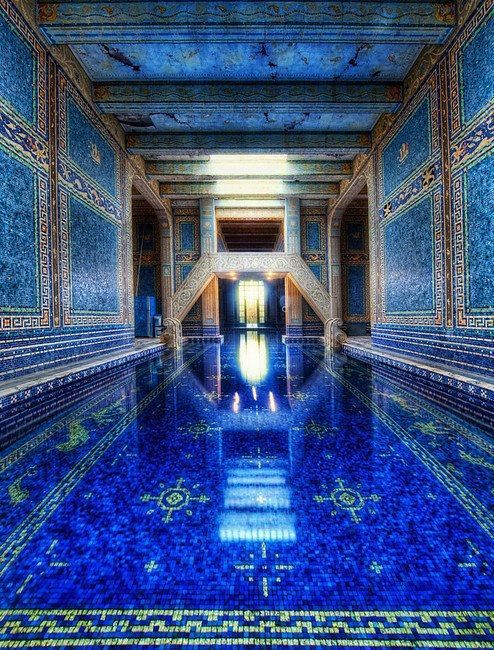 arabesque pool with royal blue color scheme and moroccan mosaic tile art