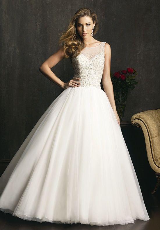 0ebb4fc2c3 Allure Bridals Wedding Dresses - The Knot Illusion neckline ...