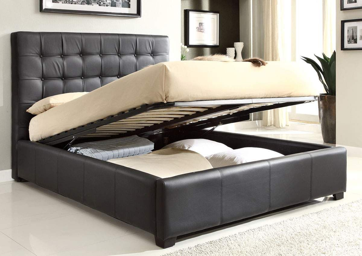 Best Brown Bonded Leather Bed With Storage Under Mattress 400 x 300